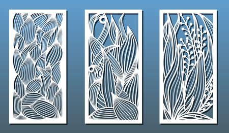 Plantillas de corte láser, conjunto de paneles con estampado floral. Corte de madera o metal, decoración de paneles, arte en papel, plantillas para calados. Ilustración vectorial