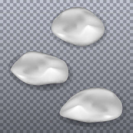 Set of cream smears. Realistic white cosmetic cream texture, skincare gel, foam or lotion. Isolated elements. Vector illustration Ilustração