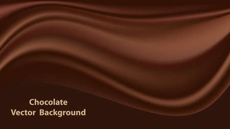 Chocolate wave, abstract background, dark brown satin texture. Vector illustration