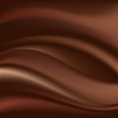 Chocolate wave, abstract background, dark brown color. Vector illustration