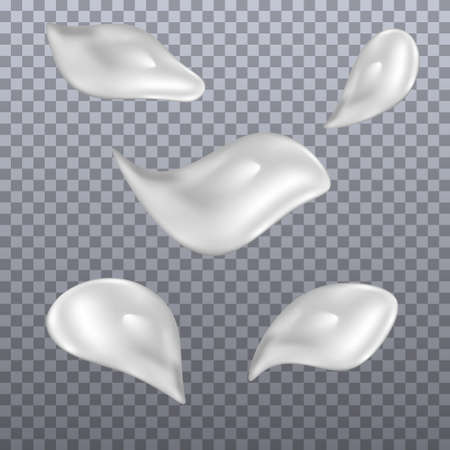 Set of cream smears. Realistic white cosmetic cream texture, skincare gel, foam or lotion. Isolated elements. Vector illustration Illustration