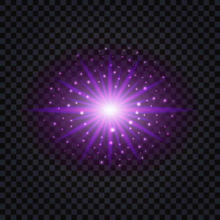 Purple glowing light flash effect with shiny sparkles. Vector illustration 일러스트