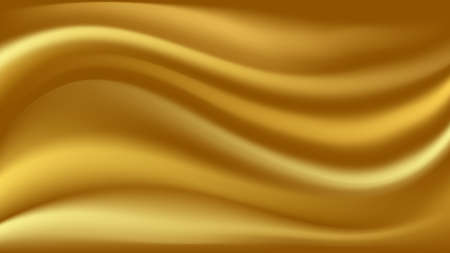 Gold satin waves. Smooth silk wavy  abstract background. Vector illustration