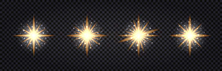 Set of shining light flash. Gold glowing, glitter sparkles, stars. Isolated on transparent background. Vector illustration