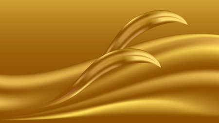 Gold glowing waves with shiny golden decor. Luxurious abstract background for your desogn. Vector illustration 일러스트