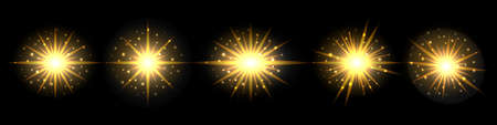Light flash with gold glowing effect and glittering sparkles. Golden shining sun. Set of elements on black background. Vector illustration