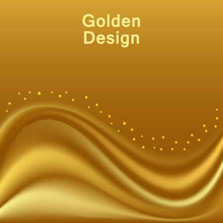 Gold satin waves. Smooth silk wavy  abstract background for cover or banner design. Vector illustration 일러스트