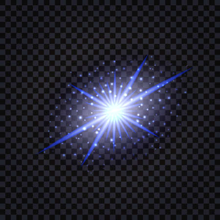 Blue glowing magic star with light flash effect and shiny sparkles. Isolated on transparent background. Vector illustration 일러스트