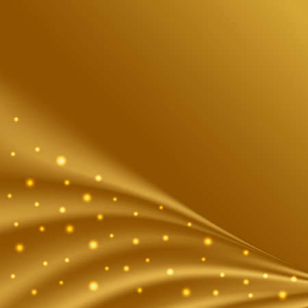 Golden satin waves with glowing sparkles.Gold silk background for luxurious cover or banner design. Vector illustration
