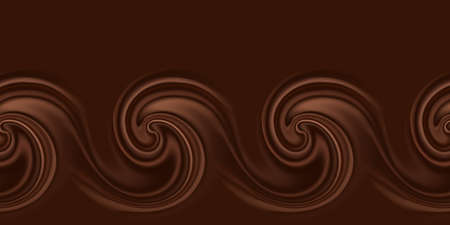Chocolate waves and swirls. Abstract background,  wavy border pattern with smooth chocolate flow. Vector illustration