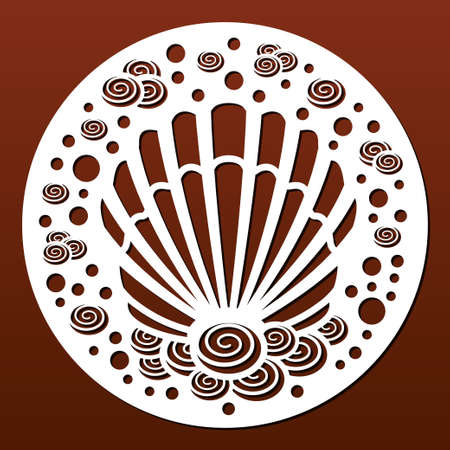 Laser cut template. Circular panel pattern for diy laser cutting. Design with seashells and underwater world.Vector ornament for paper art, fretwork, wall decor or wood coasters.
