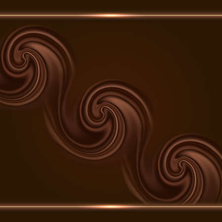 Chocolate background with swirl waves and gold glowing borders. Cover or poster design, smooth satin brown texture and shiny golden lines. Vector illustration