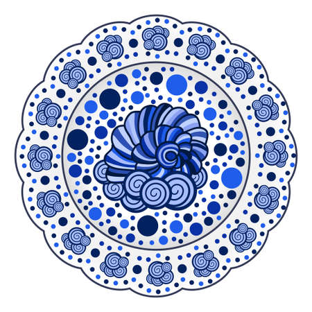 Porcelain plate ornate with blue nautical pattern with seashells. Useful for seafood table decoration.