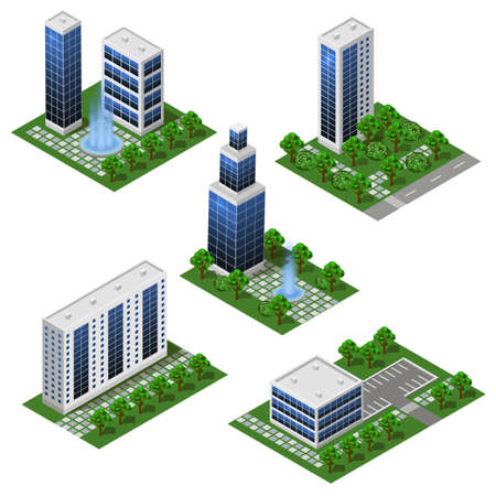 Modern City Buildings. Isometric set of isolated modules in flat style. Big houses and office buildings, street and outdoor park.