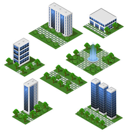Modern City Buildings. Isometric set of isolated modules in flat style. Big houses and office buildings, street and outdoor park. For urban cityscapes and metropolis scenes background. Vector illustration