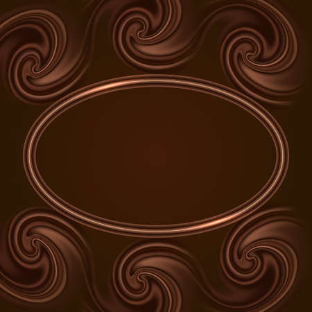 Chocolate swirl waves and glowing frame border. Decorative background for cover   design. Vector illustration