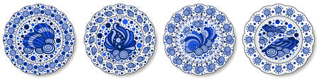 Porcelain plates painted in Chinese style with blue nautical pattern with seashells, design for sea food table. Illustration