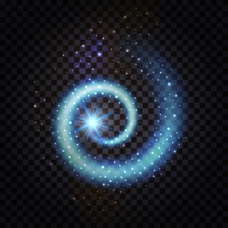 Blue magic spiral swirl. Glowing wave with light effect and stardust glittering sparkles on transparent background.  Night space galaxy.