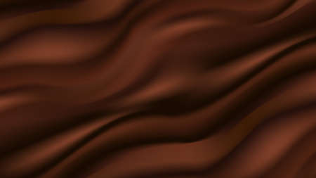 Chocolate wavy background. Smooth flowing satin texture, abstract dark brown color flow. Vector illustratio