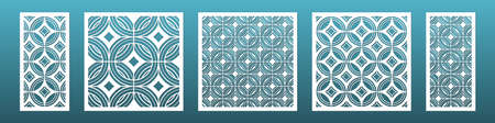 Laser cut panels with modern geometric pattern. Templates for cnc plasma cutting. Can be used in interior design as room screen  Metal or wood carving, fretwork. Illustration