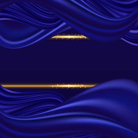 Blue silk wavy background. Deep blue satin swirl waves and golden glowing border lines. Abstract color flow, decor for cover or posger design. Vector illustration