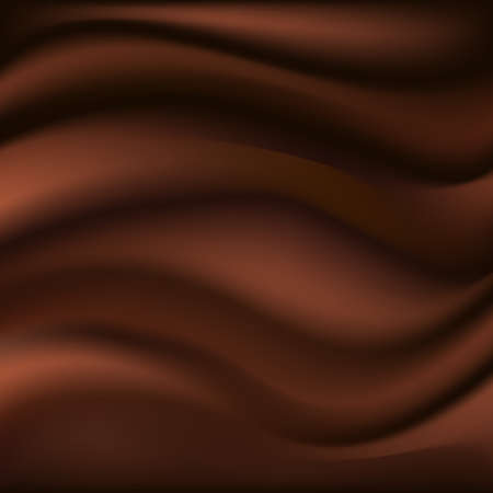 Chocolate wave, abstract background. Dark brown smooth silk texture with wavy color flow. Vector illustration
