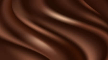 Chocolate wave background. Flowing smooth satin texture, dark brown creamy chocolate pattern. Vector illustration