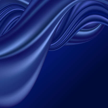 Blue wave silk background. Smooth satin fabric texture, elegant swirl color flow. Abstract design, vector illustration Illustration