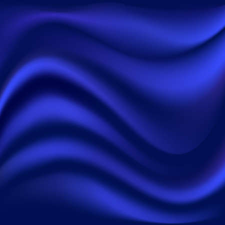Blue satin wavy background. Smooth soft fabric texture. Abstract pattern. Vector illustration