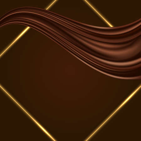 Chocolate background with golden glowing frame border and satin wave with chocolate color flow swirl. Luxurious design for cover or poster. Vector illustration