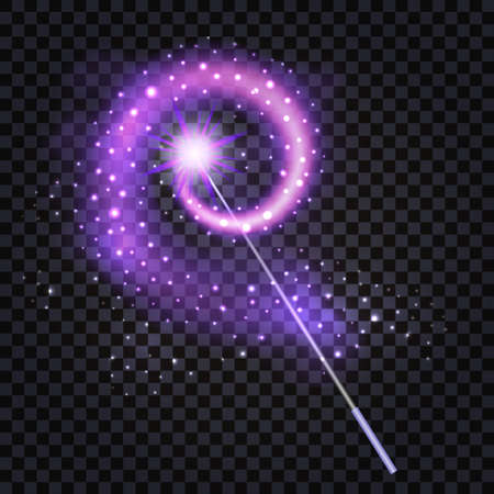 Magic Wand with mysterious purple light glowing trail, star dust and sparkle glitter. Isolated object for fantasy magician in game,cartoon or fairytale. Vector illustration