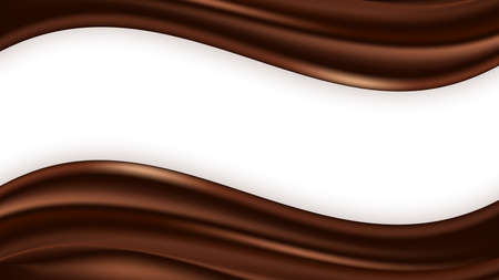 Chocolate wave swirl background. Wavy satin texture, chocolate smooth color flow. Vector illustration for abstract design Illustration