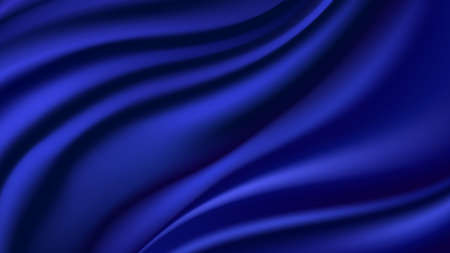 Blue silk wavy background. Smooth shiny satin texture, deep blue wave color flow. Abstract vector illustration