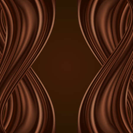 Chcocolate background with swirl waves, dark brown color flow, wavy twist satin or silk curtain. Vector illustration, abstract design.