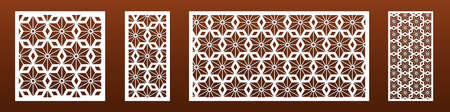 Laser cut panels with modern abstract geometric pattern. For interior home design, room dividers, privacy screen, wall art. Cnc cutting files, metal, glass or wood decoration. Vector illustration.