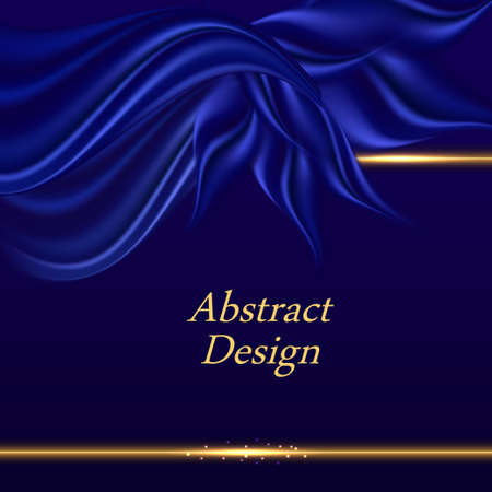 Blue satin background with wavy drapes. Luxurious blue silk texture, abstract design with swirls and golden border lines. For poster or banner. Vector illustration