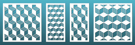 Set of laser cut panels with modern abstract geometric pattern. For home interior design elements, screens and room dividers. Cnc cutting, wood carving, wall art, fretwork. Vector templates, square and rectangular.
