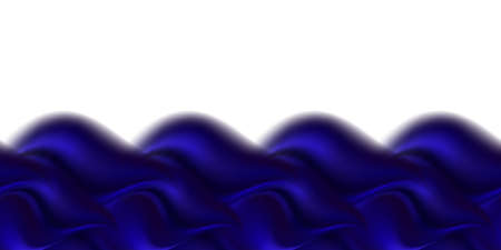 Blue wave swirl, smooth silk or satin texture. Wavy luxurious border on white background, deep blue color flow abstract design. Vector illustration Illustration