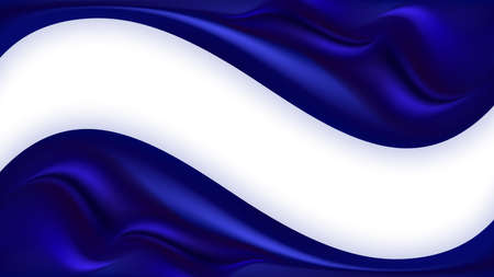 Blue silk wavy swirl background. Smooth satin texture, deep blue color flow wave. Border for poster or banner. Vector illustration