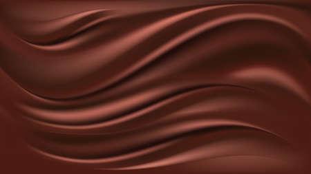 Chocolate wave background. Flowing smooth satin texture, milk chocolate creamy pattern. Vector illustration Vecteurs