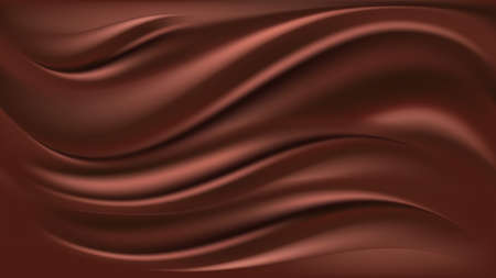 Chocolate wave background. Flowing smooth satin texture, milk chocolate creamy pattern. Vector illustration  Illustration
