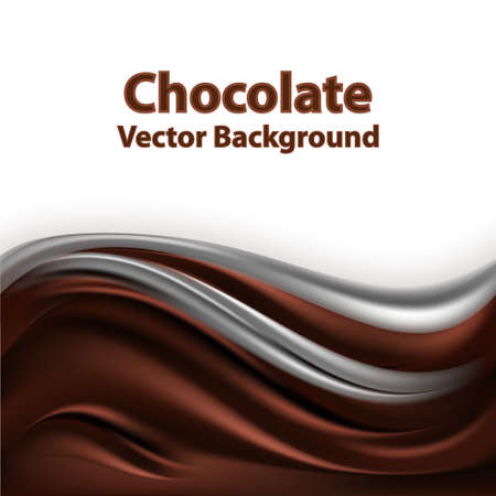 Chocollate wavy background. Milk chocolate wave, frame border for poster or banner. Smooth satin fabric texture, drak brown and creamy color flow. Vector illustration.