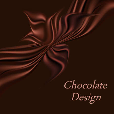 Chocolate background design ornate with a silk ribbon and bow. Dark chocolate satin texture, backdrop for cover, banner or poster. Vector illustration Illustration