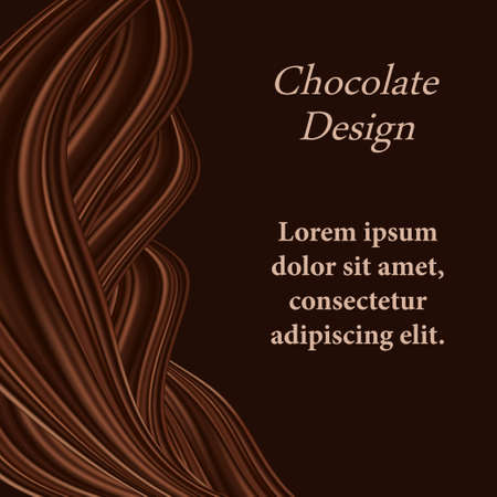 Chocolate background with wavy swirl decorative border for cover or poster. Dark brown chocolate twisted drapery, smooth color flow design. Abstract  illustration