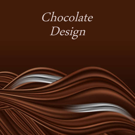 Chocolate wave background, dark brown color flow chocolate with cream splash. Decorative border for poster or banner. Abstract vector illustration Banque d'images - 155096708