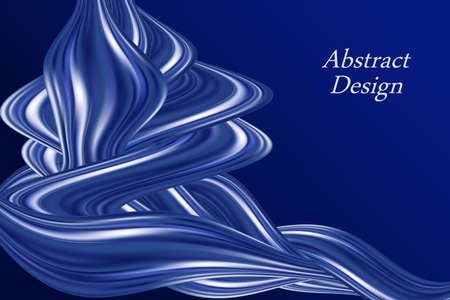 Blue color flow wavy swirl, modern background. Smooth silk texture with luxury pearl shine. Abstract  illustration