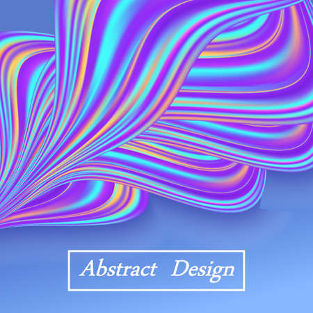 Rainbow pastel wave, abstract background with blue color flow waves and swirls for poster or banner design. Vector illustration Illustration