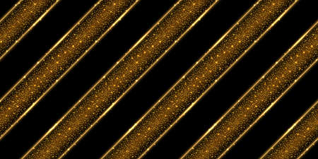Gold glittering background. Golden shiny sparkles and dust with glowing lines, shimmer light effect. Abstract geometric pattern illustration