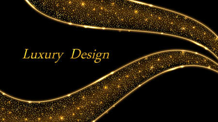 Gold glitter wave swirl background.Shiny star dust and golden glowing curve lines, abstract luxury modern design with light effect.
