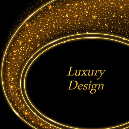 Gold luxury background. Golden glowing sparkles on black. Modern geometric design with shiny stardust and glitter effect. Vector illustration, backdrop for poster or flyer. Illustration
